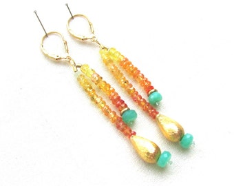 Yellow and Orange Sapphire Dangle Earrings with Chrysoprase and 14k gold Vermeil
