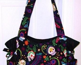 ON SALE - Floral Sugar Skulls Handbag, Baby Bag, Travel Bag, Purse, Tote, Shoulder Bag, Adjustable Strap, Outside Pockets, Small Med Big