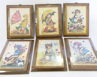 Wood kids wall plaque hanging home decor folk art set of 6 old stock