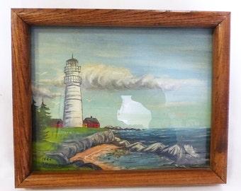 Nautical acrylic painting of lighthouse on the beach home decor sign a. penney