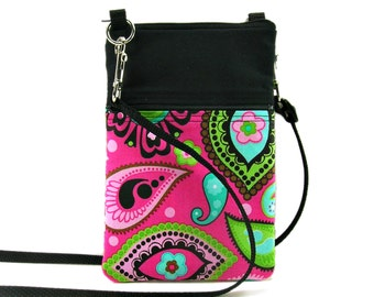 Fabric Sling Bag, Small, Pink & Black, Paisley, Bold, Mini Hipster, Crossbody Bag, Zipper, Gadget, Travel Purse, Pouch, Adjustable Strap