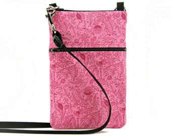 Fabric Sling Bag, Small, Pink Floral Print, Pink Flower, Mini Hipster, Crossbody Bag, Zipper, Gadget, Travel Purse, Pouch, Zipper Purse