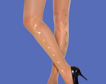 Holiday gift Gold tights Pins model available in S-M L-XL, XXXL, gift ideas, gift for her, girlfriend gift