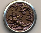 Antique Metal Picture Button - Cupid At Rest - Large 1 1/2 Inch Diameter