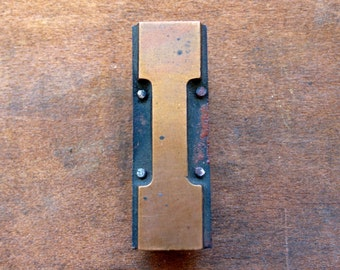 Antique Copper on wood Printers Block - Letter I