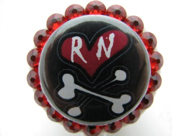 RN ID Badge Holder RN Crossbones Nurse with Swarovski Crystals and Charm