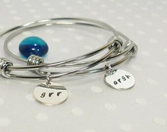 Best Friend Bracelet Set - Grr Argh Geek Jewelry - Horror Sci-Fi  Fantasy Fan - Geek Girl - Personalized Bracelet Set - Hand Stamped Bangle