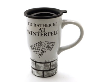 Game of Thrones - travel mug - Winterfell - ceramic travel mug with handle - Stark direwolf - home and living - Jon Snow