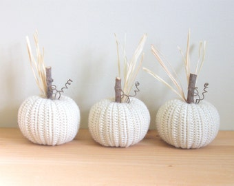 Fall Decor White Pumpkins Set of Three Autumn Decor Crocheted Pumpkins Halloween Thanksgiving Decor Primitive Country Decor Farmhouse Decor