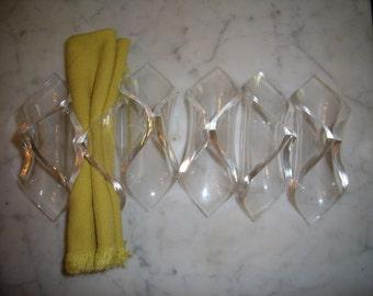 Set 6 Vintage MCM Lucite Acrylic Cannoli Napkin Rings