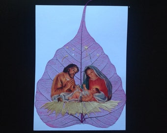 Christmas Nativity collectors value. Handmade real leaf art. FREE SHIPPING  Unique   No two alike signed, numbered art. Have U seen leaf art