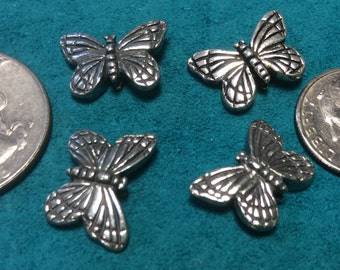 antique silver pewter butterfly beads