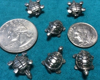 antique silver pewter turtle beads