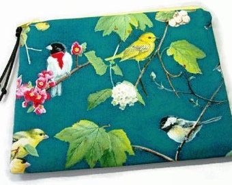 Padded Zipper Cosmetic Pouch in Teal Birds and Branches Print