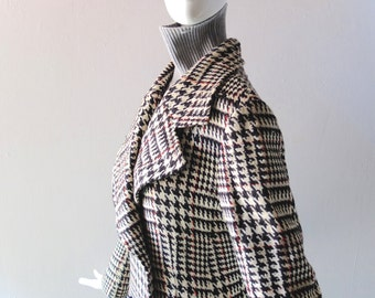 Vintage 1970s Italy Long Wool Maxi Coat - Tailored Black White Hounds Tooth Plaid - Double Breasted Military Style - Size 6 8 - Red Lining