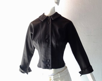 Vintage 1940s Black Wool Fitted Tailored Jacket - Peter Pan Collar Blazer - size XS SM 0 2 - Dior New Look Chic
