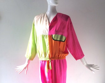 Vintage 80s Silk Color Block Track Suit - The Goldbergs Chic - Helene Designer Sportswear - size SM to MED - 1980s Costume Party Cool
