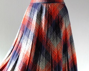 Vintage Persimmon Plaid Wool High Waist Skirt - 1970s Classic Crystal Pleating - Bias Cut Wool Flannel - Downton 1920s Preppy British Chic
