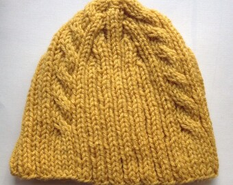 Gold Triple Cable Knit Hat, Super Stretchy Adult Winter Hat, Rib Knit, Cabled, Hand Knit, Autumn Yellow