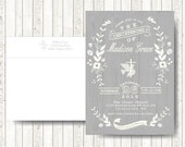 Baptism Invitation // Floral Baptism Invitations with Cross // Christening for boy or Girl // Custom text and colors