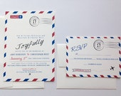 Airmail Wedding Invitation // Vintage Airmail Invites // Airmail // Paper Goods // Stationary Airplane