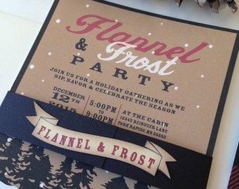 Plaid or Flannel Birthday Invitation // Flannel Lumberjack Invitation Set//  Birthday Invite // Woodsy Invitation