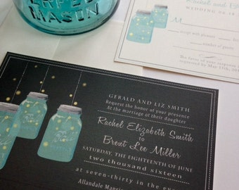 Mason Jar Invitation  | Rustic Mason Jar Invitation Customize colors and fonts | with envelopes and return address printed