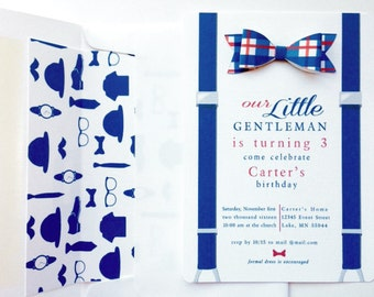 Bow Tie Invitation // Little Man  Birthday Boy Invitation // Baby Boy Shower Invite // Baptism Boy Invitation