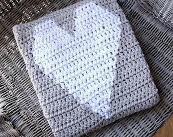 Crochet Heart Blanket, Crochet Baby Blanket, Heart Blanket, Gray Baby Blanket, Handmade Baby Blanket, White and Gray Baby Bedding