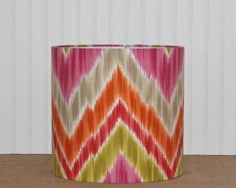 Ikat Chevron Drum Shade - Lamp Shade - Lampshade - Chevron Lamp Shade - Pink and Orange Lamp Shade - Children - Nursery