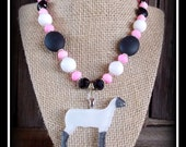 Glass Show Sheep/Lamb Pendant With Beaded Necklace
