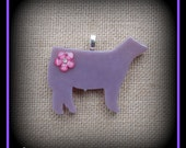 Dusty Lilac Show Steer Fused Glass Pendant