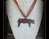 Rustic Metal Show Pig Pendant With Cord