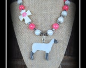 Show Sheep/Lamb Glass Pendant With Beaded Necklace