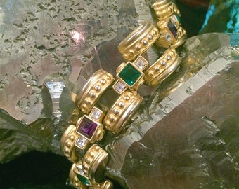 Cool Retro Bracelet #1, Mardi Gras Colors, Matte Gold, Etruscan Revival Design, Crystals, Heavy Hinged Link Construction, Pristine Condition