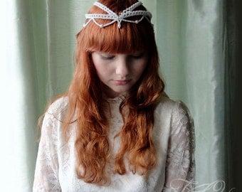 Wedding crown, bridal headpiece, bridal pearl crown, bridal crown, boho crown, bridal pearl crown, wedding headpiece,