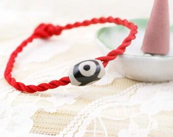 3-Eyed Dzi bead amulet bracelet