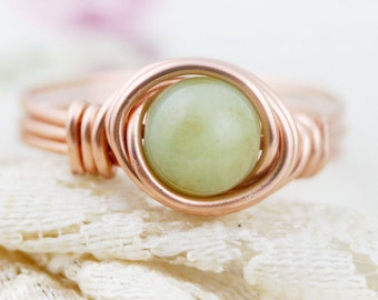 Confidence - amazonite wire wrapped ring (B) (SR)