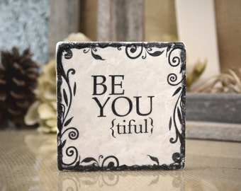 Be-You-tiful Absorbent Stone Tile Drink Coaster