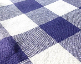 Vintage Linen Tablecloth Blue Checks by Hardy Craft Vintage
