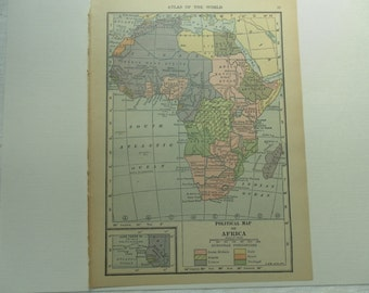 AFRICA Vintage Map early 1920s