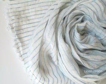 Lightweight Flax LINEN Scarf, White striped pure linen scarf, women natural organic scarf, minimalist, simple, elegant 8s