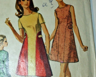 """Vintage 1960s, Sewing Pattern, Simplicity 8490, Misses' Dress, Size 12, Bust 34"""""""