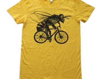 Bee on a Bicycle- Womens T Shirt, Ladies Tee, Tri Blend Tee, Handmade graphic tee, sizes s-xL