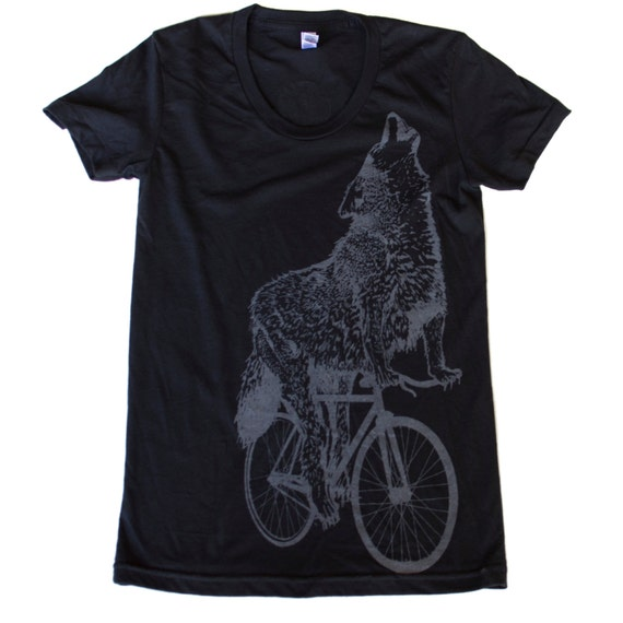 Womens WOLF on a BICYCLE - Ladies American Apparel - Black T-Shirt