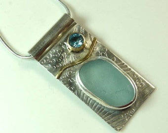 Seaglass and Swiss Blue Topaz Necklace, sterling silver and 14K Gold