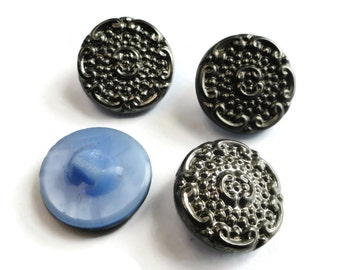 Vintage Glass Buttons - 4 Antique 1940s Periwinkle Blue and Pewter Silver 3/4 inch 19mm for Jewelry Supplies Beads Sewing Knitting