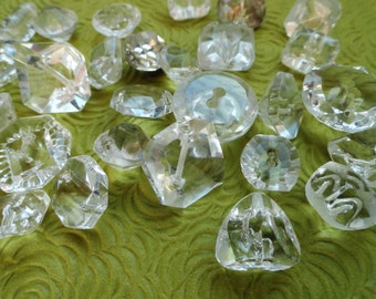 30 Antique and Vintage Clear Glass Buttons - Many Jewel Cut