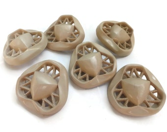 Openwork Vintage Buttons - 6 Neutral Tan Plastic Triangles in YOUR CHOICE of Sizes