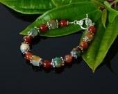 Green Red Agate Bracelet, Agate Bracelet, Natural Stone Bracelet, Agate Bracelet, Agate Jewelry, Christmas Gift, Autumn Jewelry
